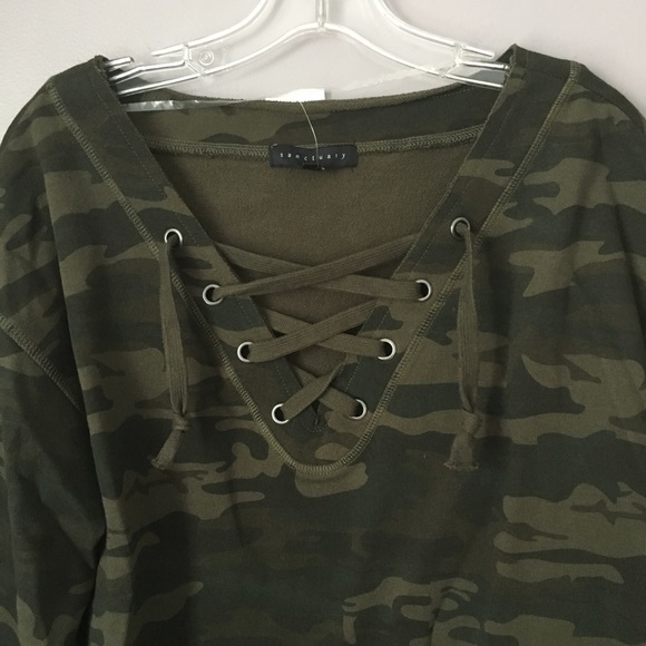 a27bb0036a9 SANCTUARY Camo Lace Up V-Neck Popover Top